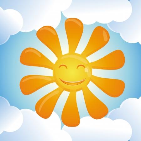 cartoon smiling sun - bright abstract illustration Stock Vector - 18083332