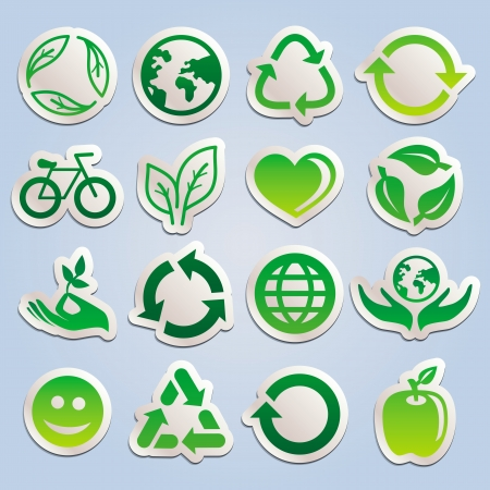 set with ecology stickers - green signs symbols and signs Vector