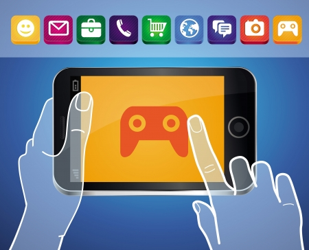 Vector mobile phone with hands and game icon on screen Vector