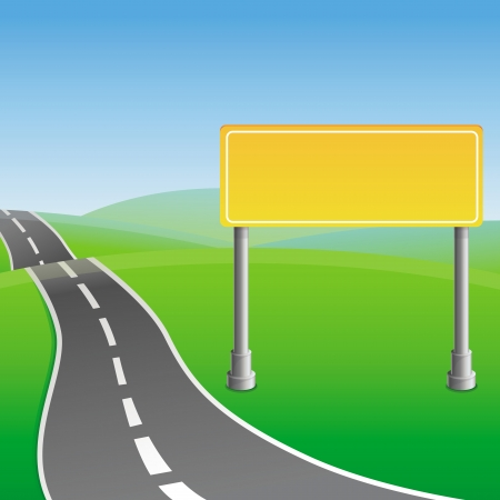 Vector road sign and green landscape Stock Vector - 18724378