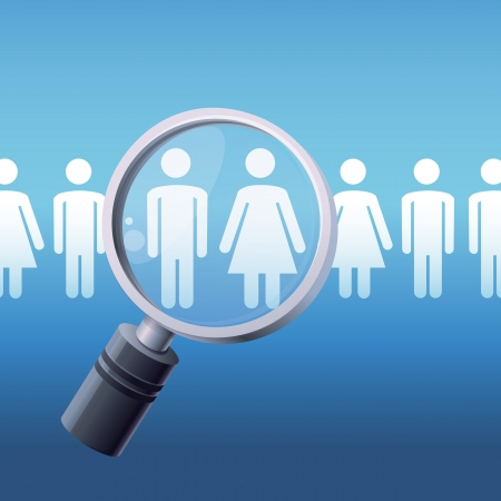 choose person: Vector search concept - magnify glass and male and female icons