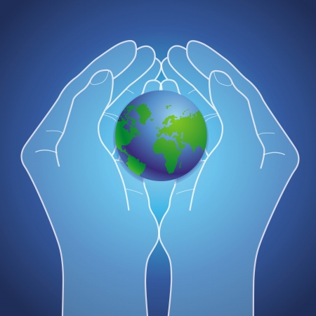 hands holding globe: Vector ecology concept - hands holding globe icon
