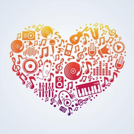 heart tone: Vector concepto de la m�sica - los signos y s�mbolos en forma de coraz�n