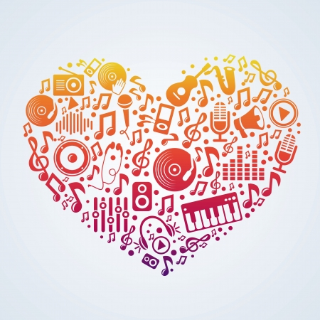 vinyl disk player: Vector music concept - signs and symbols in heart shape