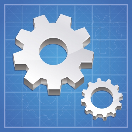 Vector gear icon  - metal signs on blue background Vector