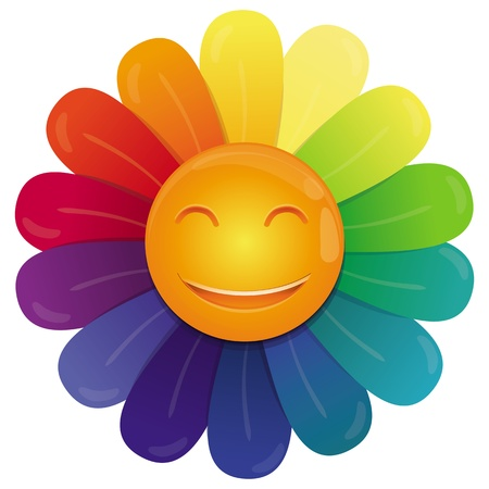 happy face: Vector rainbow flower with multi colored petals and funny face