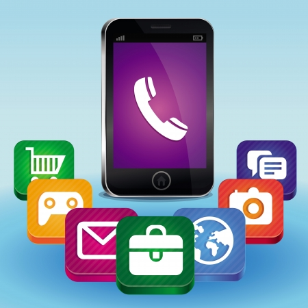 mobile payment: vector mobile phone concept - wuth bright app icons