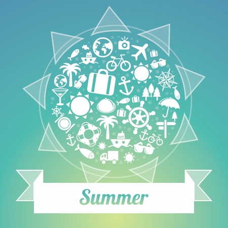 Vector travel concept - summer and vacation icons Vector