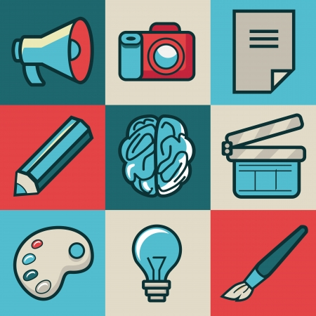 create idea: Vector creative icons - collection in retro style Illustration