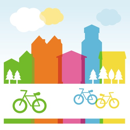 cocnept: Vector design cocnept with modern buildings and bicycles