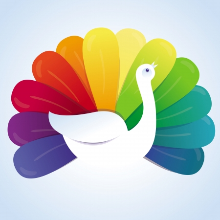 Vector peackok bird with rainbow feathers - abstract concept Vector