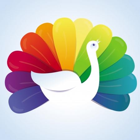 Vector peackok bird with rainbow feathers - abstract concept Stock Vector - 18724424