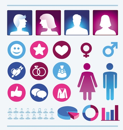 población: Infografía elementos de diseño - iconos y signos hombre y mujer - la población femenina y masculina