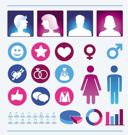 simbolo uomo donna: infografica elementi di design - uomo e donna icone e dei simboli - popolazione femminile e maschile Vettoriali