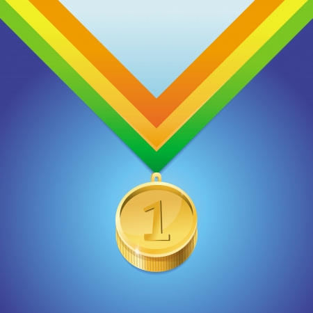Vector golden medal with number first - victory concept Vector