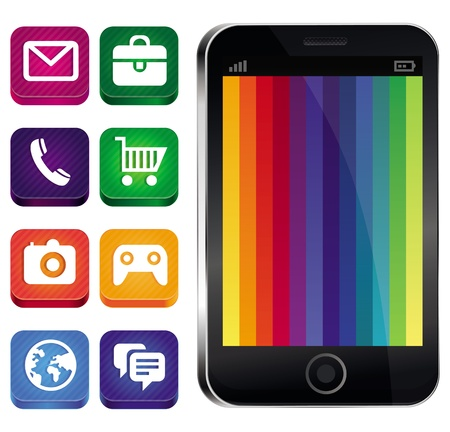 Vector touchscreen phone with rainbow wallpaper and app icons Vector