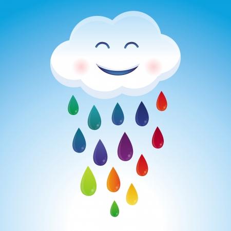 Vector cartoon cloud and rainbow drops - abstract funny card Stock Vector - 18969119
