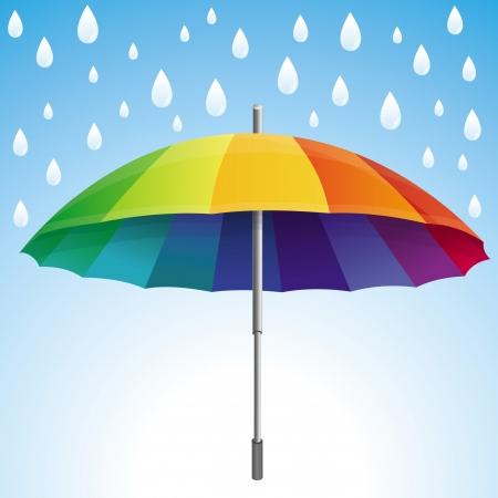 cartoon rainbow: Vector paraguas y las gotas de lluvia en los colores del arco iris - concepto de tiempo abstracto Vectores