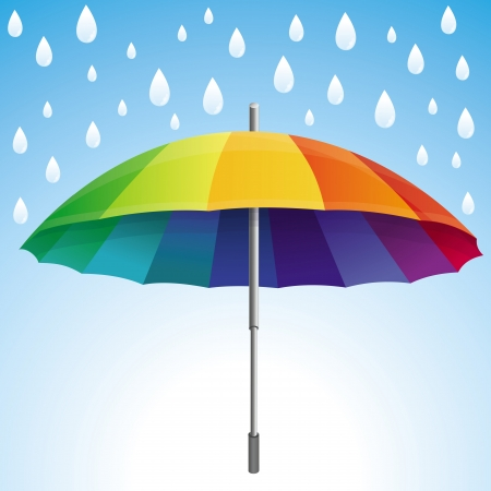 umbrella rain: Vector umbrella and rain drops in rainbow colors - abstract weather concept