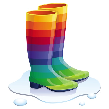 Vector rubbers boots in rainbow colors - bright trendy concept Vector