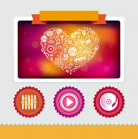 Vector design template with music icons and signs - bright interface design elements Vector