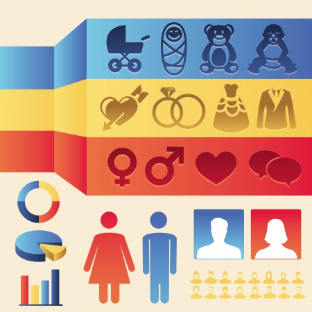 Vector infographics design elements - man and woman icons and signs - female and male population Vector