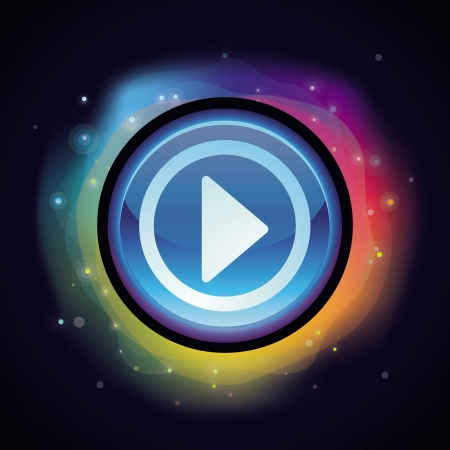 Vector abstract background in rainbow colours  with play button Stock Vector - 18969185