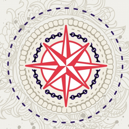 sea star: Abstract vector background with compass icon in vintage style