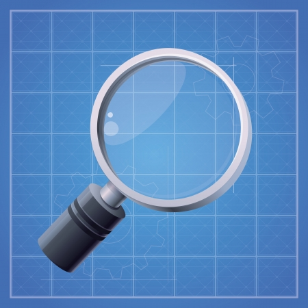 magnifying glass on blue background Stock Vector - 19118572