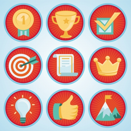 tick icon: set with achievement and awards badges for social community