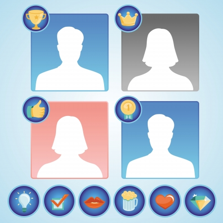 set with achievement and awards badges for social community - man and woman avatars with icons Vector