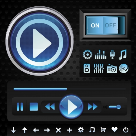 Vector set with interface design elements for music player in blue color - signs and icons Vector