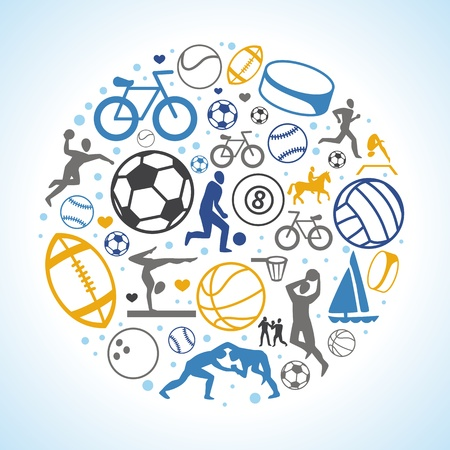 round concept with sport icons and signs - healthy life-style Stock Vector - 19118558