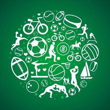 team sports: concepto redonda con iconos del deporte y los signos - saludable estilo de vida