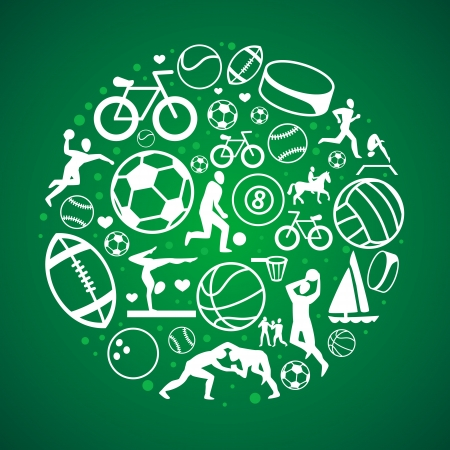 team sports: round concept with sport icons and signs - healthy life-style