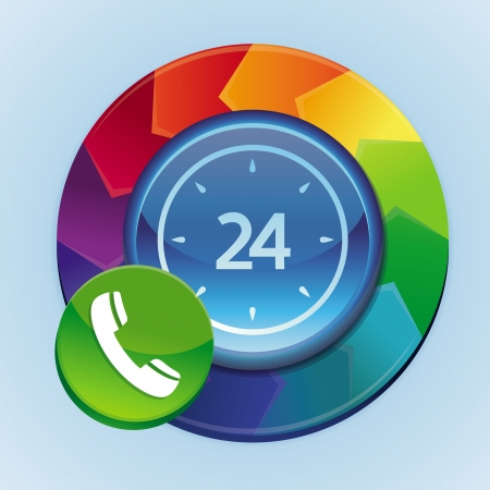24 hour: 24 hour support icon - abstract rainbow concept with button