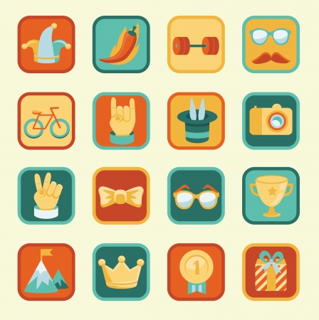 set with achievement and awards badges for social community - hipster icons and signs Illustration