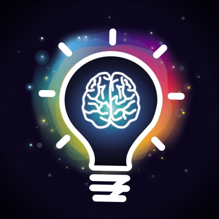 intelligence: Vector creativity concept - brain icon and light bulb