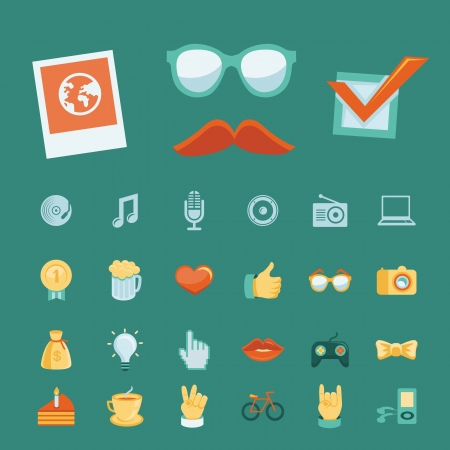 Vector set with trendy hipster icons and signs in retro style