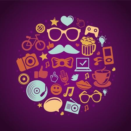 funky music: Vector round concept with trendy hipster icons and signs