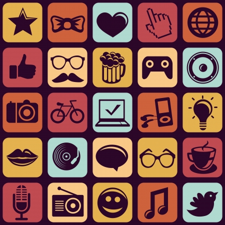 Vector seamless pattern with trendy hipster icons and pictograms Vector