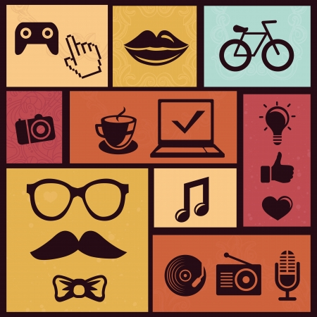 Vector set with trendy hipster icons and design element in retro style Vector