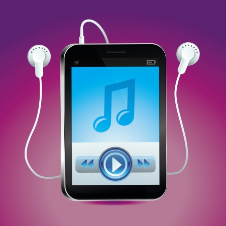 earpieces: Vector music player with touchscreen and play button - bright icon