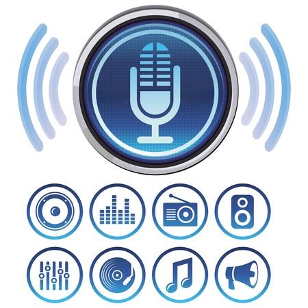 microfono de radio: Vector iconos de podcast - signos y símbolos para aplicaciones de audio
