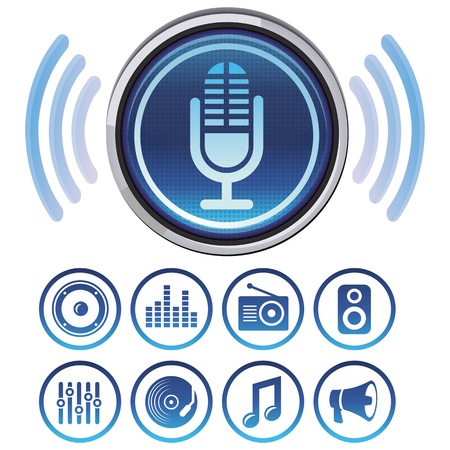 newscast: Vector podcast icons - signs and symbols for audio apps