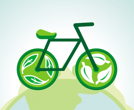 Vector green bicycle with recycle signs - ecology concept Vector
