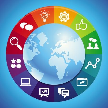 social media marketing: Internet vector concepto de marketing - fondo abstracto con el globo y los iconos Vectores