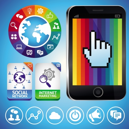 infographics touchscreen: Vector set with internet icons and mobile phone - social marketing signs Illustration