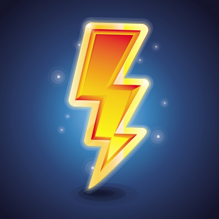 Vector lightning symbol - bright glossy icon in blue background Vector