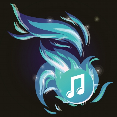 Vector music note with cold blue flame - abstract background Vector